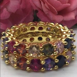 Two Gold Plated Exquisite Rainbow Eternity Band